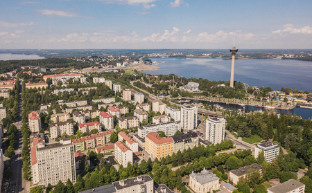 Aerial view of Tampere, one of the biggest cities in Finland Stock Photo