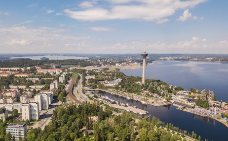 Aerial view of Tampere, one of the biggest cities in Finland