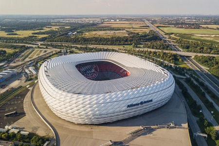 Aerial view of Allianz Arena in Munich