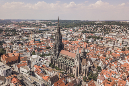 Aerial view of Ulm Minster Stock Photo