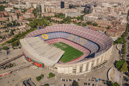 Aerial view of Camp Nou, home stadium of FC Barcelona