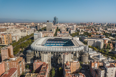 Aerial view of Santiago Bernabeu stadium in Madrid