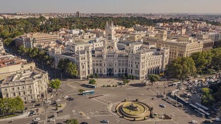 City hall of Madrid and Plaza de Cibeles Stock Photo