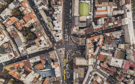 Top view of streets with car traffic Stock Photo