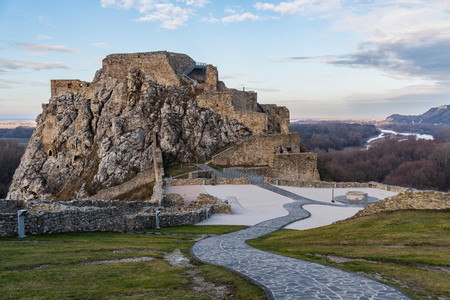 Ruins of Devin Castle in Slovakia in late autumn