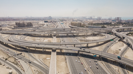 Aerial view of road junction in Dubai Stock Photo