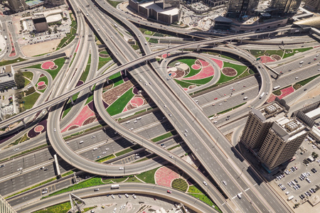 Aerial view of road junction in Dubai 版權商用圖片