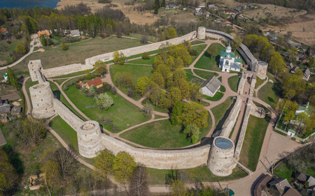 Aerial view of Izborsk fortress