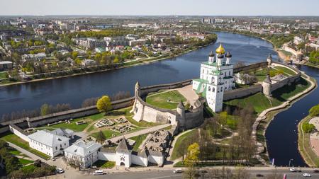Aerial view of Kremlin in Pskov