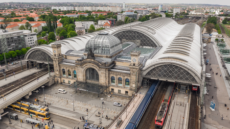 Aerial view of Dresden Central Station Editorial