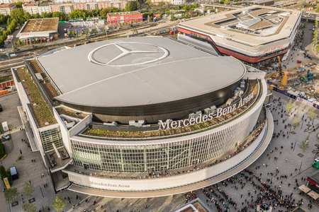 Aerial view of Mercedes-Benz arena in Berlin