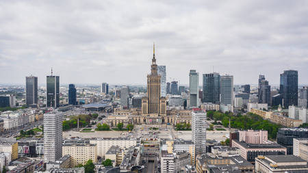 Aerial view of Warsaw downtown