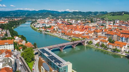 Aerial view of Maribor and Drava river