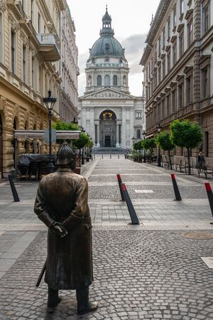 St. Stephens Basilica and the Fat Policeman Statue in Budapest