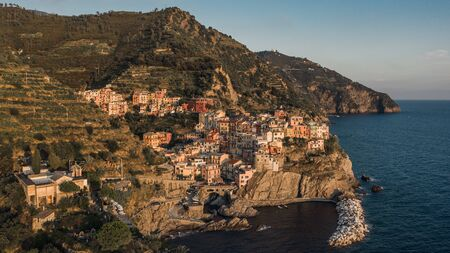 Aerial view of Manarola before sunset