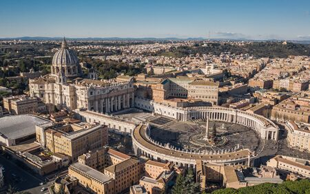 Aerial view of St. Peter's Basilica and St. Peter's Square with Christmas tree on it