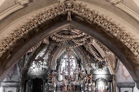 View of the Sedlec Ossuary interior 에디토리얼