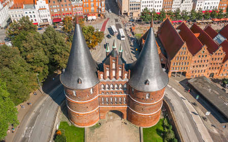 Aerial view of Museum Holstentor in Lubeck 에디토리얼