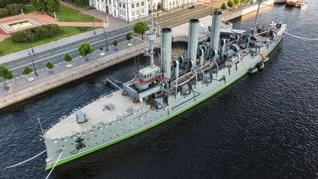 Aerial view of Cruiser Aurora in St. Petersburg 에디토리얼