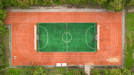 Aerial view of small stadium 스톡 콘텐츠