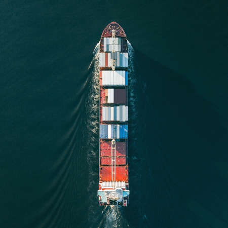 Container ship sailing in sea 스톡 콘텐츠 - 159640160