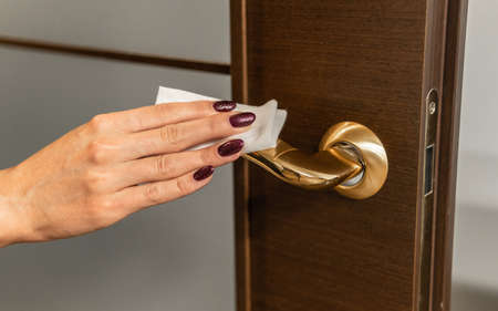 Cleaning and disinfection of doorknob