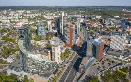Aerial view of modern high buildings in Vilnius