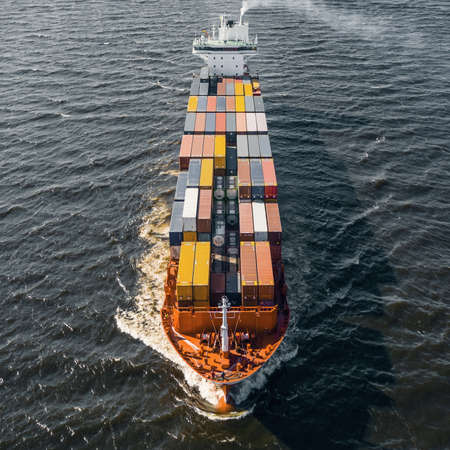 Cargo ship floating in sea