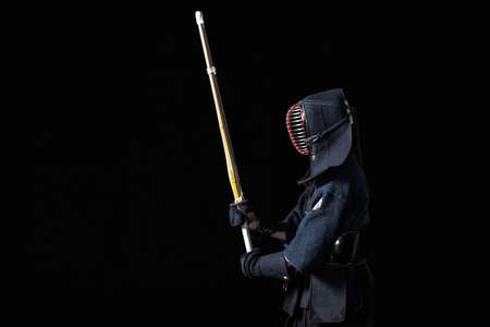 Kendo fighter with with shinai