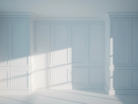 room wallpaper: 3d illustration of empty vintage interior Stock Photo