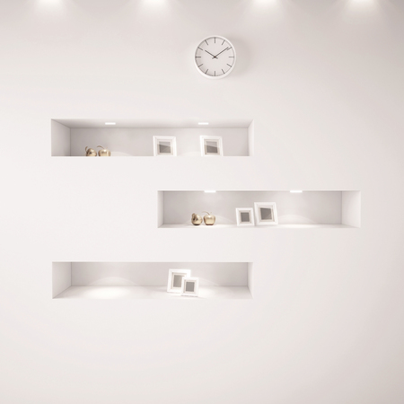 shelfs: 3d white shelfs with lights Stock Photo