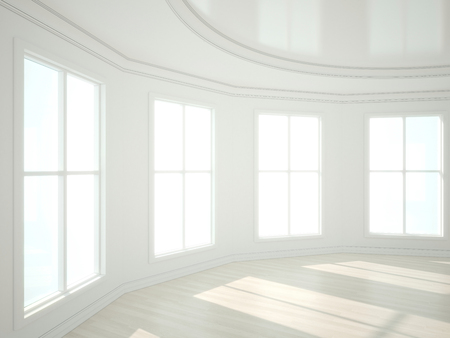 white window: 3d illustration of empty modern interior. wite. Stock Photo