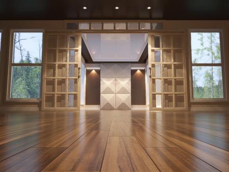 扉を開くと空のインテリアの 3 d イラストレーション。低角度のビュー