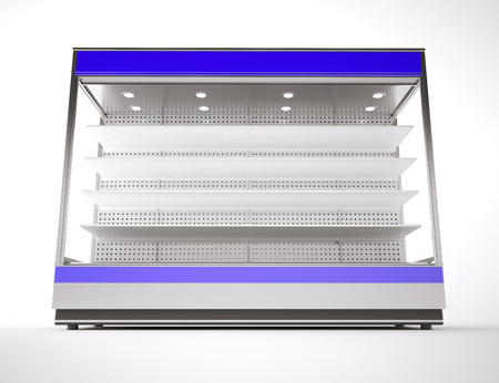 Commercial refrigerator equipment isolated on white. 3d render