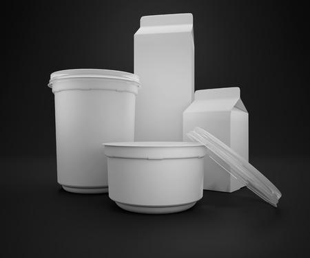 Blank fermented milk product packaging isolated on white background. 3d render Reklamní fotografie