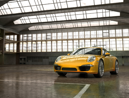 Almaty, Kazakhstan. MARCH 18: Porsche 911 carrera turbo luxury stylish fast sport car on factory background. 3D render Editorial