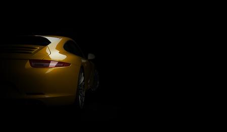Super snelle dure auto coupe op donkere achtergrond. 3D render