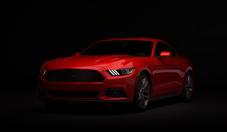 Almaty, Kazachstan. 28 MAART: Ford Mustang V8 5.0L. luxe stijlvolle auto op donkere, zwarte achtergrond. 3D render