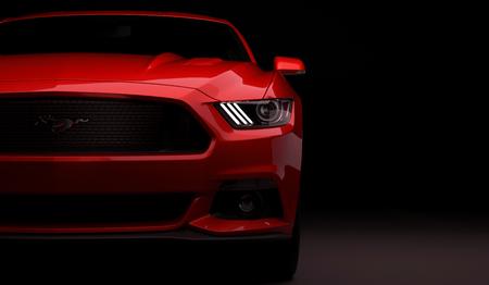 Almaty, Kazakhstan. MARCH 28: Ford Mustang V8 5.0L. luxury stylish car on dark, black background. 3D render