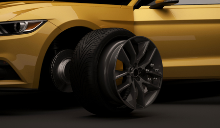 Expensive luxury sports car coupe tire repair on tire service. Repair a punctured wheel. 3d render Banque d'images