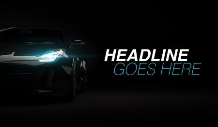 Stijlvolle snelle sportwagen op een zwarte achtergrond met led-verlichting aan. Futuristische moderne voertuigkoplamp xenon op donker. 3D render