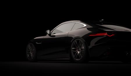 Almaty, Kazakhstan. April 01: Jaguar F-type SVR luxury stylish fast sport car on black background. 3D render