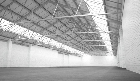 Clean white hangar background. Low angle view. 3D rendering Stock Photo