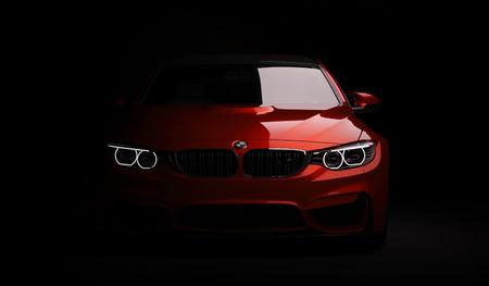 lmaty, Kazajstán 10 de febrero de 2019. BMW M4 F82 en el fondo aislado. Render 3D Editorial