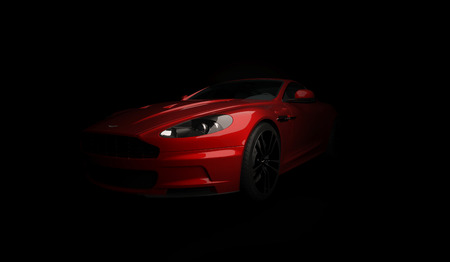 Almaty, Kazakhstan. April 15: British luxuty sport car coupe Aston Martin DBS on black background. 3D render