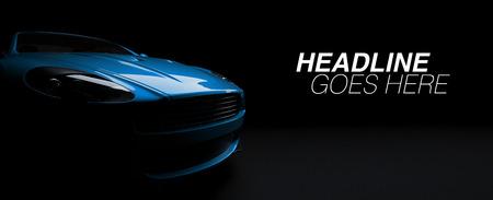 Luxury British sports car coupe on dark background. 3d render