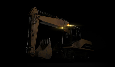 Hydraulic Excavator with bucket on black background. 3D render Stockfoto