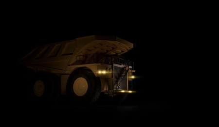 Huge empty mining dump truck isolated on black background. Low angle. 3d illustration