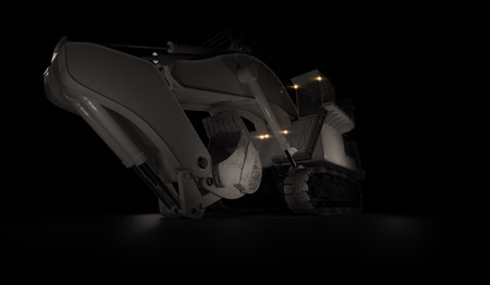 Heavy excavator with shovel standing on dark background. Low angle. 3d render