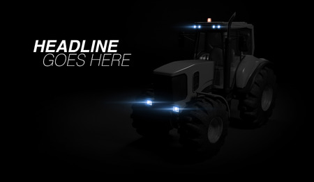 New tractor standing on black background, a modern agricultural transport with headlights closeup. 3d render. Фото со стока